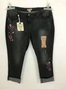 Democracy Flex-ellent Embroidered Women's Black Jeans Size: