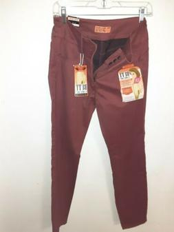 """WAX JEANS """"BUTT I LOVE YOU"""" STRETCH PANTS Maroon Size 11 NWT"""