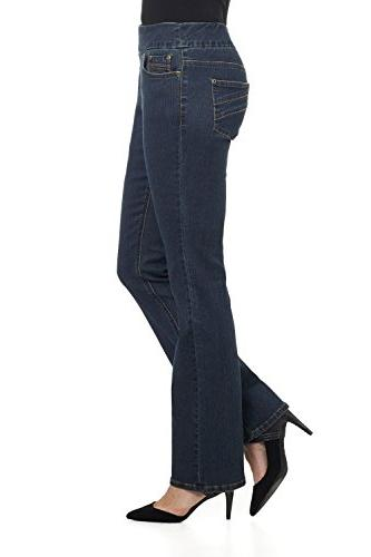 Rekucci Jeans In Comfort Pull-On Stretch Bootcut Denim Pants