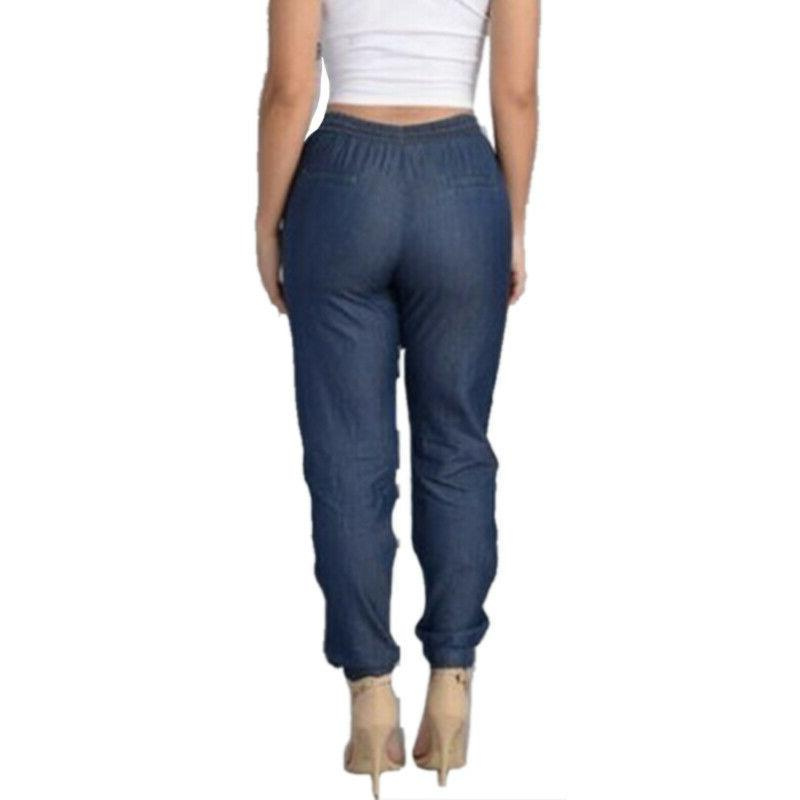 Women Elastic Waist Trousers Jeans Loose Long Pants Size