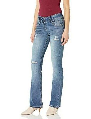 women s distressed luscious curvy bootcut jeans