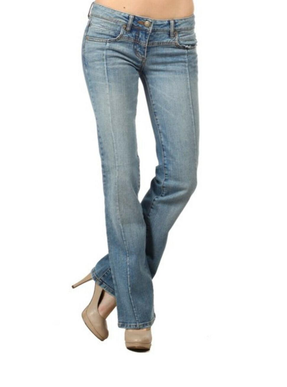 Women's bell bottom denim jeans stretchy comfortable flare