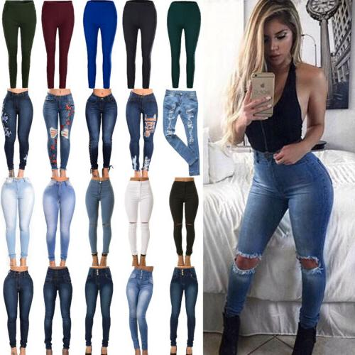 womens stretch skinny denim jeans slim jeggings