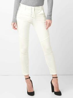 Gap Mid Rise True Skinny Ankle Jeans with Lace-Up Detail, Sz