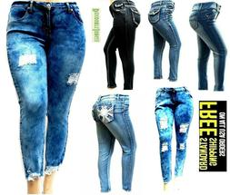 Womens PLUS SIZE Stretch BLUE denim jeans SKINNY Bootcut Cur