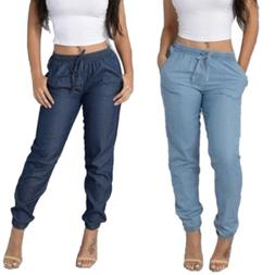 women high elastic waist trousers jeans denim