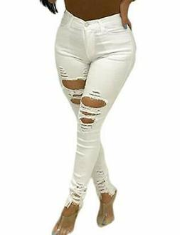VICVIK Women High Waist Knee Skinny Distressed Ripped Boyfri