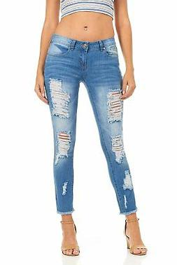 Cover Girl Women's Distressed Ripped Skinny Jeans Plus Size