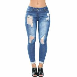 Womens Distressed Ripped Butt Lifting Skinny Jeans Stretchy