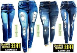 womens plus size destroy distressed ripped blue